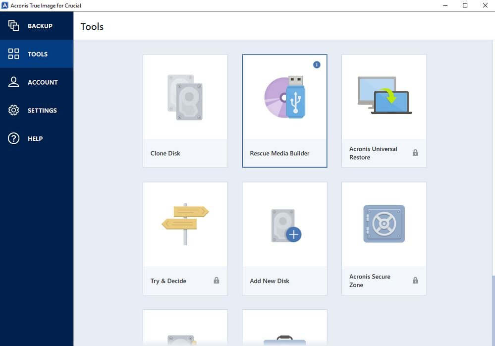 Acronis True Image for Crucial – Oberfläche