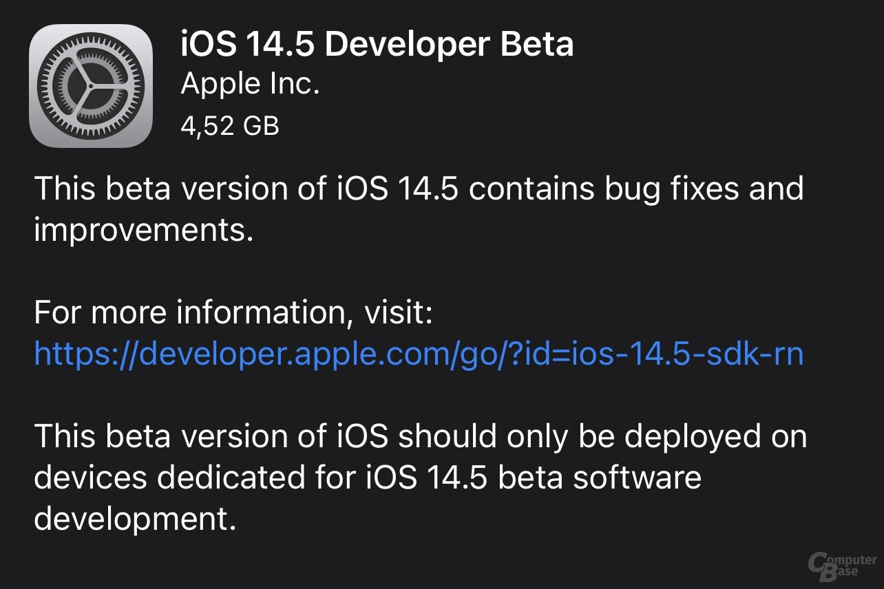 iOS 14.5 Developer Beta 1