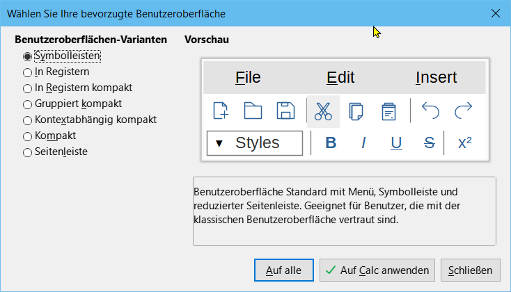 Die Benutzeroberfläche wird mit LibreOffice 7.1 anpassbar