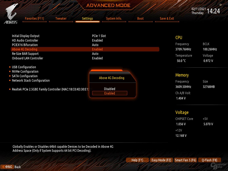 Attiva AMD SAM su Gigabyte B550 Aorus Pro