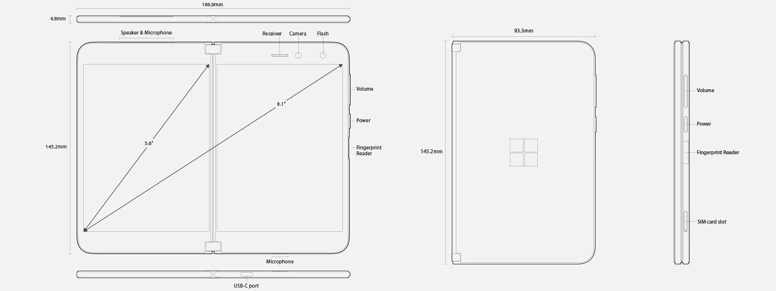 Abmessungen und Features des Surface Duo