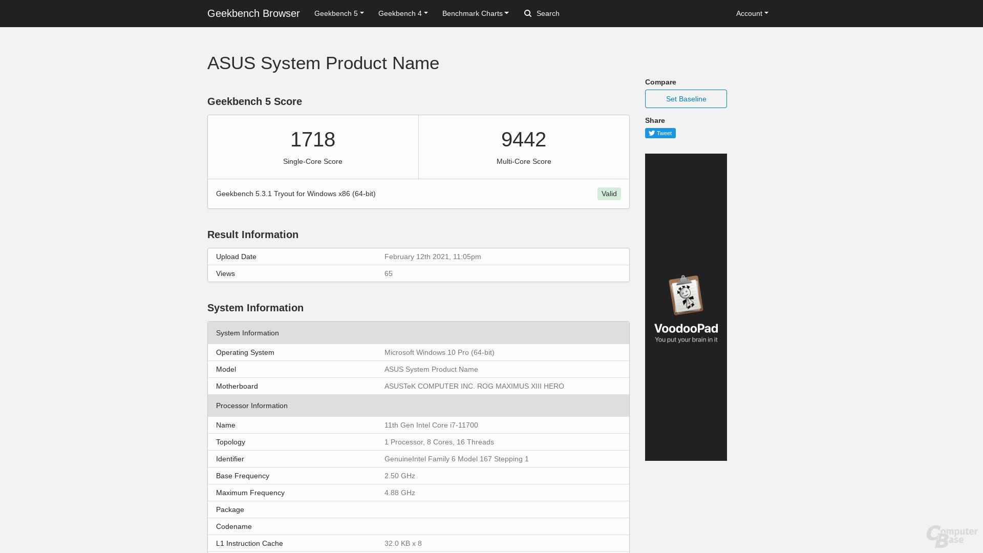 Core i7-11700 é alimentado por 65W no Geekbench 5