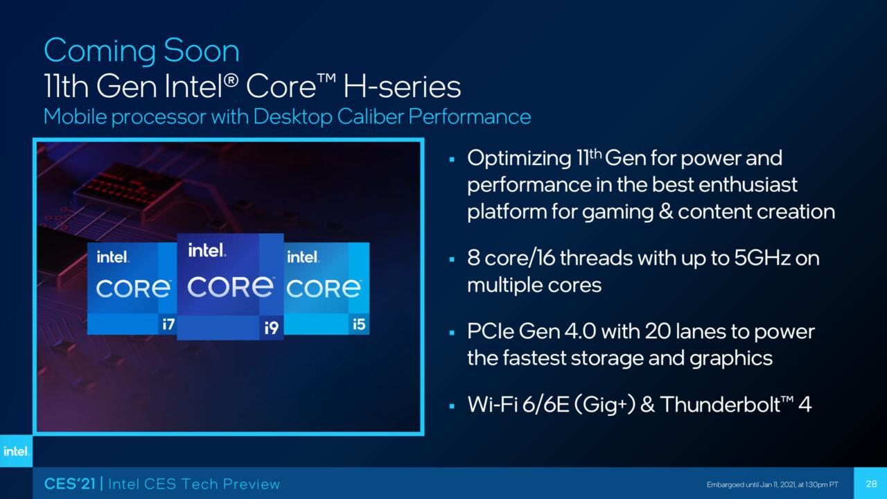 Intel Tiger Lake-H45: Core i9-11980HK führt die 8-Kerner im Notebook an