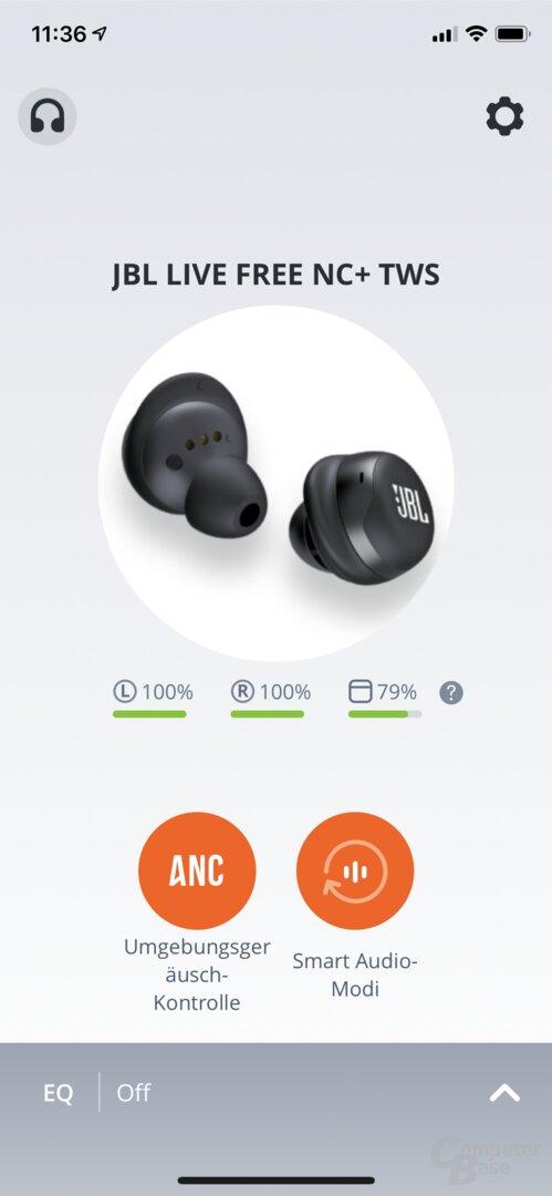 My JBL Headphones App mit JBL Live Free NC+