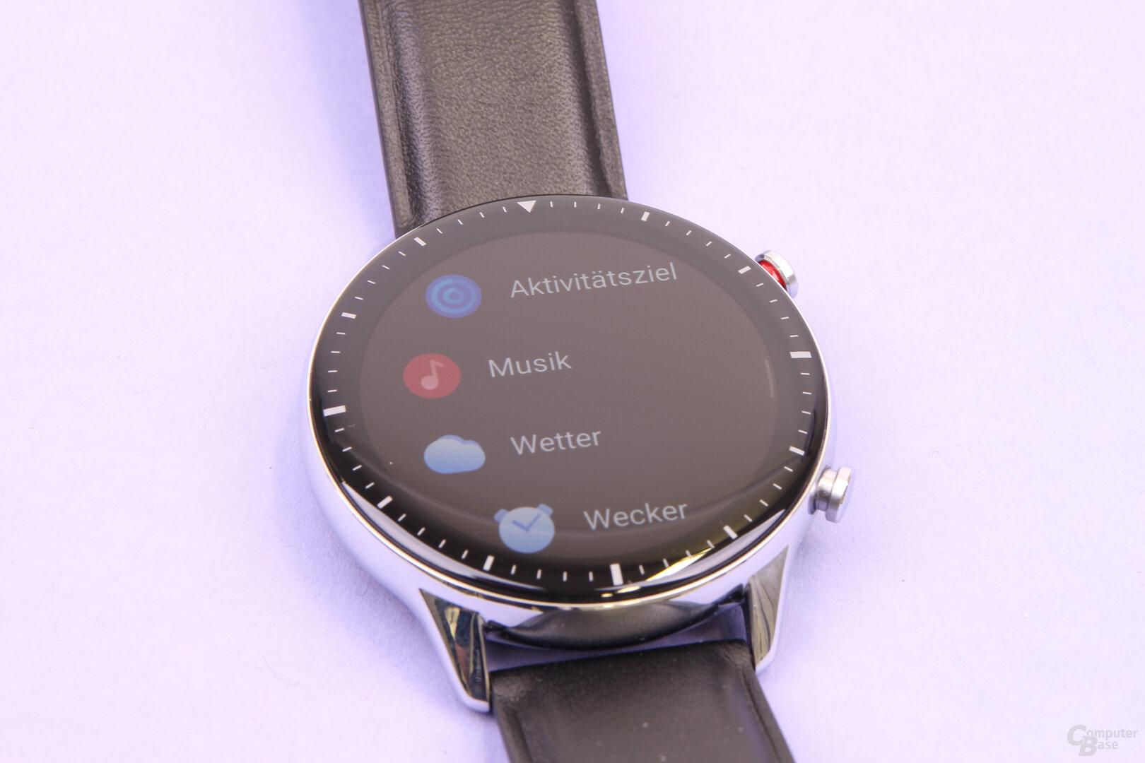 Amazfit GTR 2: Wenige Funktionen direkt auf der Uhr