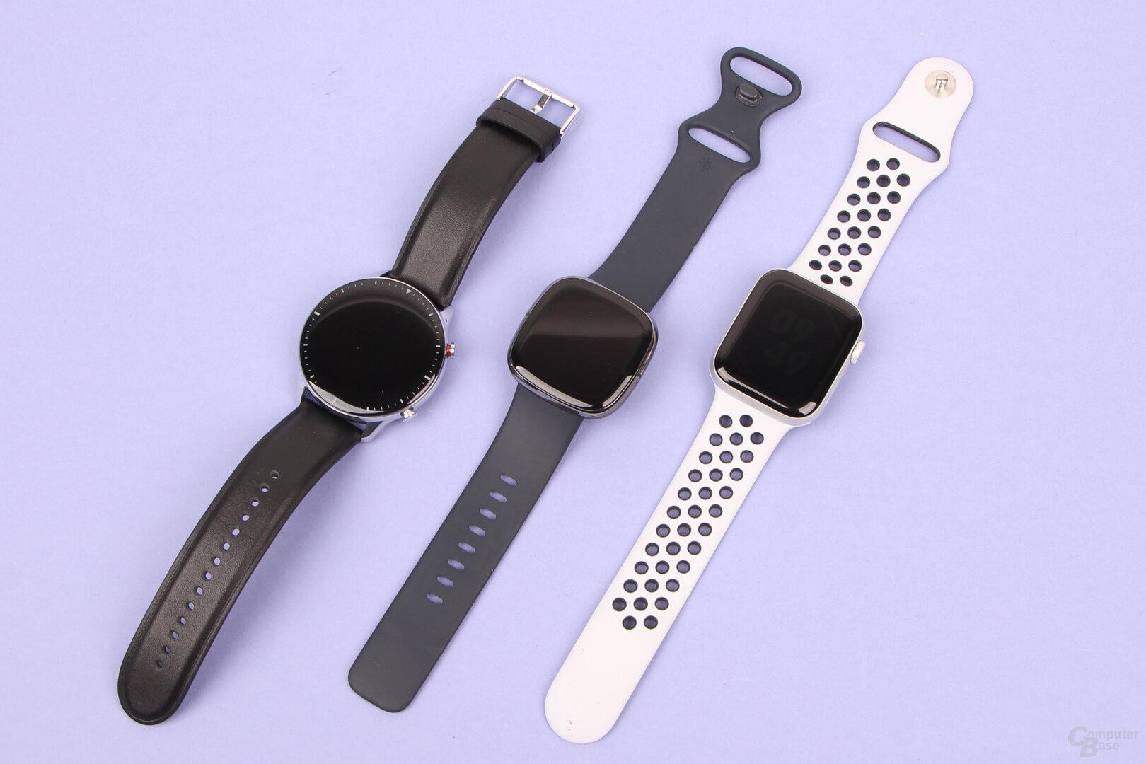 Amazfit GTR 2, Fitbit Sense und Apple Watch 6