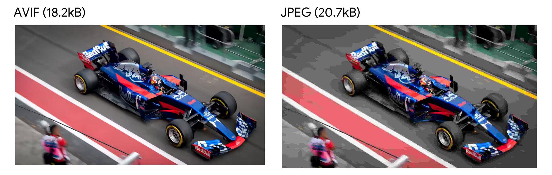 Vergleich von AVIF und JPEG bei 18,2KB und 20,7KB