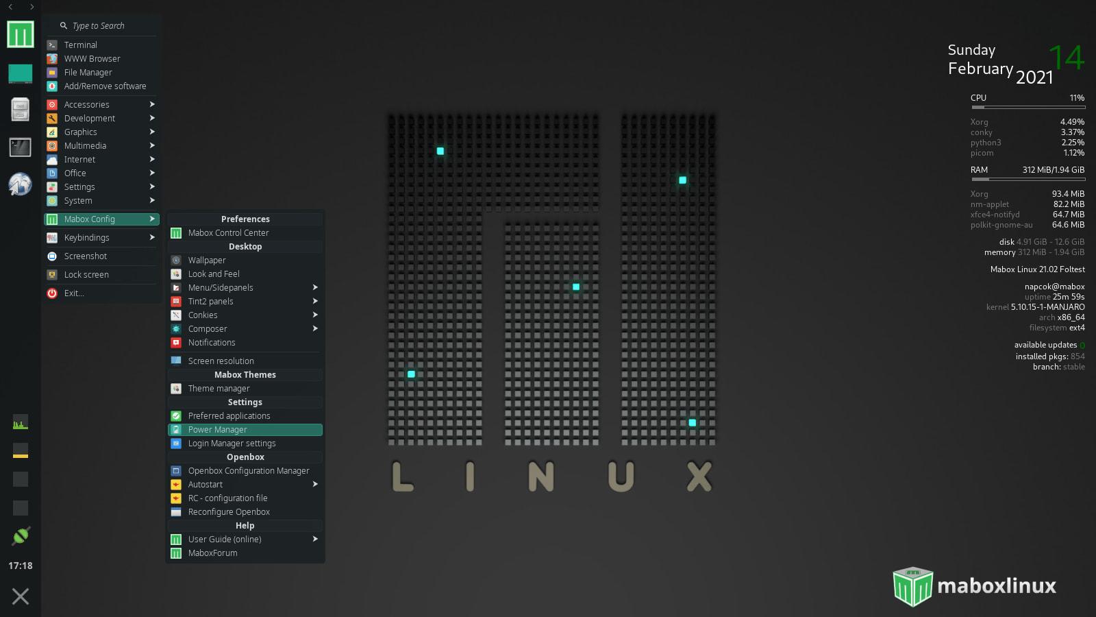"MaboxLinux 21.02 (""Foltest"") mit Openbox 3.6.1 und Conky 1.11.6"