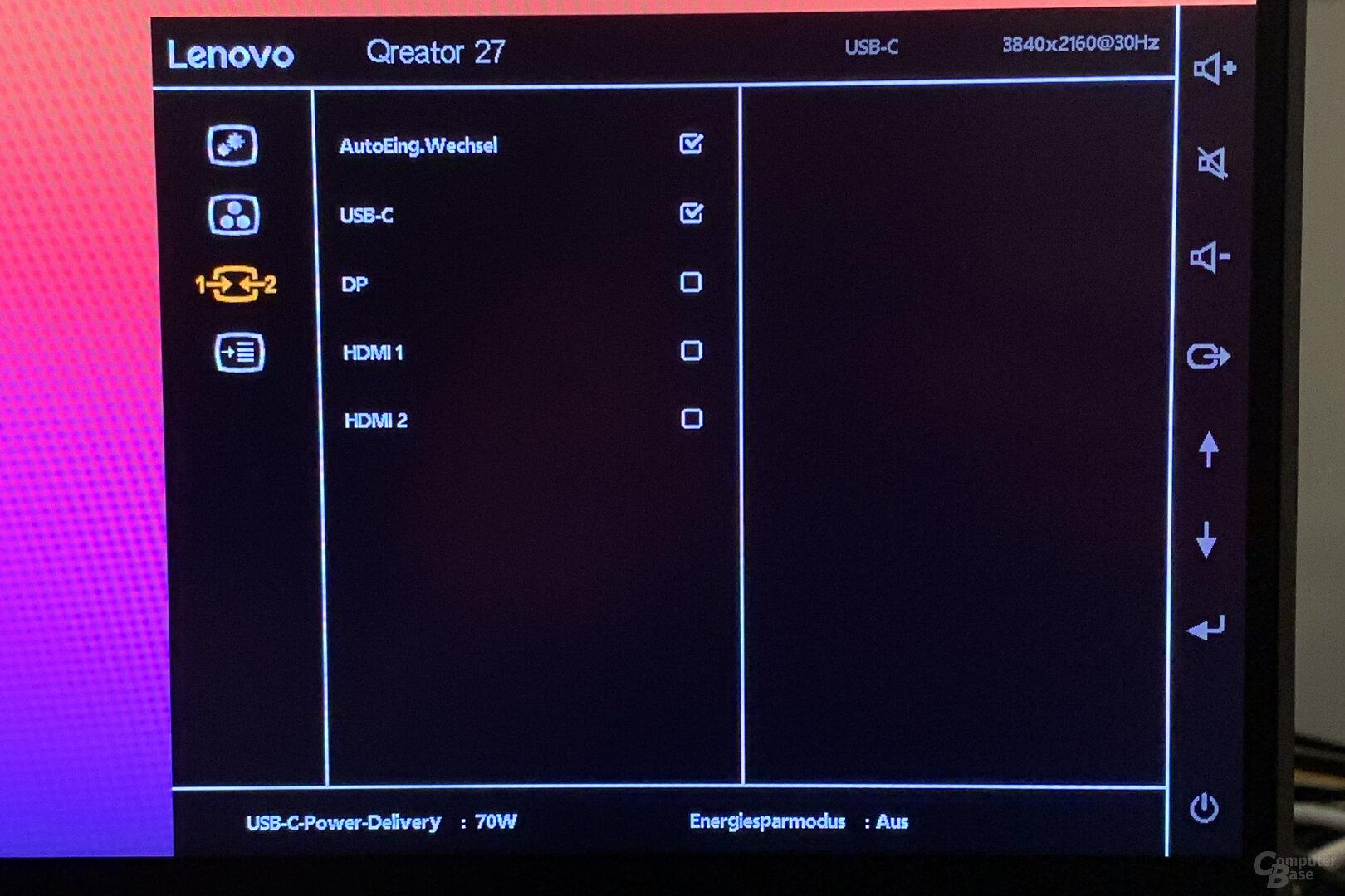 OSD des Lenovo Qreator 27