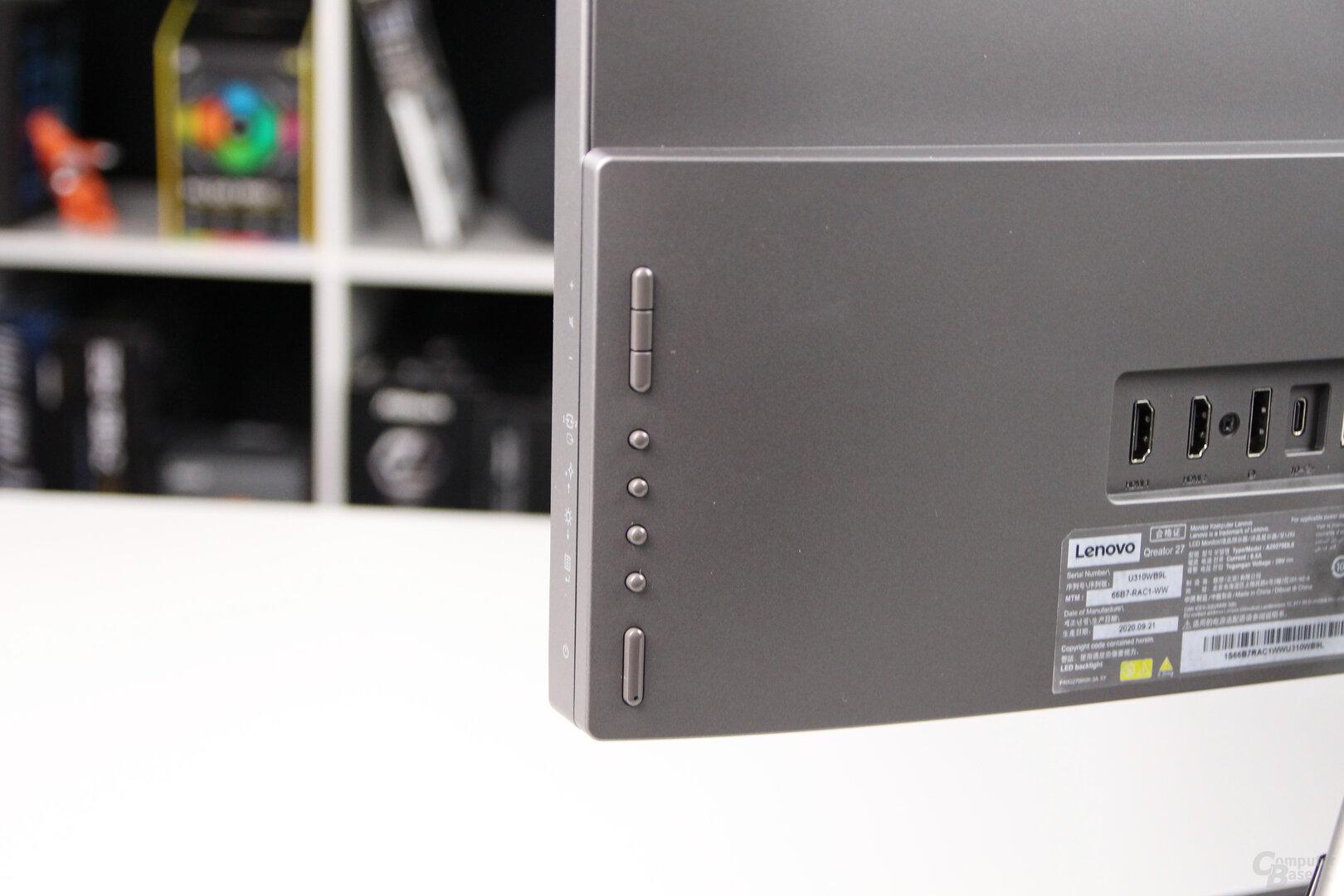 Lenovo Qreator 27: Tasten für das OSD