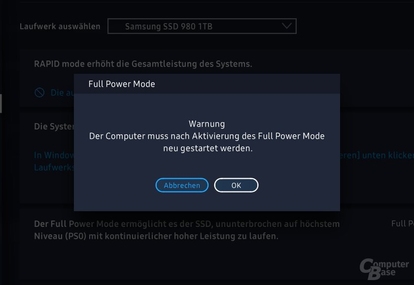Der neue Full Power Mode in Samsung Magician 6.3.0