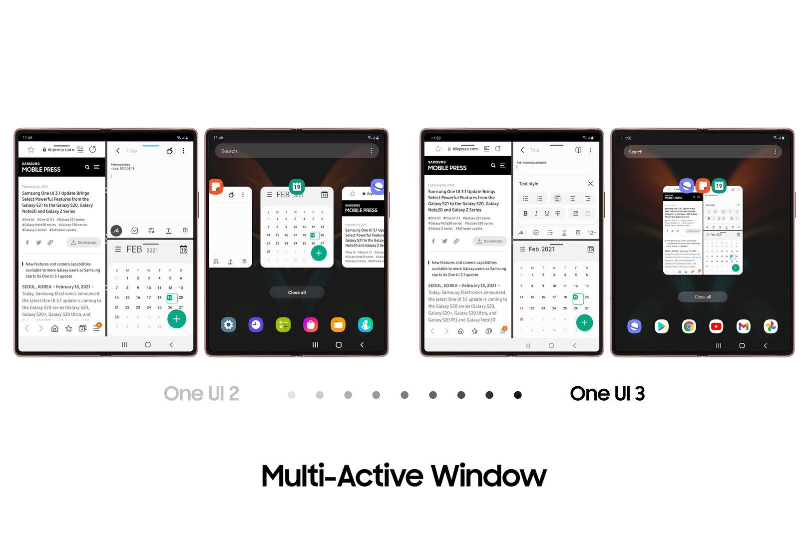 Drei Fenster bleiben als Zusammenschluss in der App-Übersicht