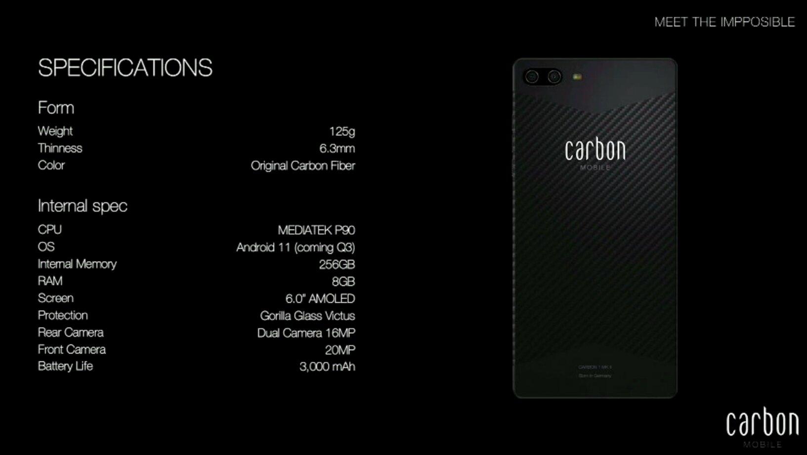 Technische Daten des Carbon 1 MK II