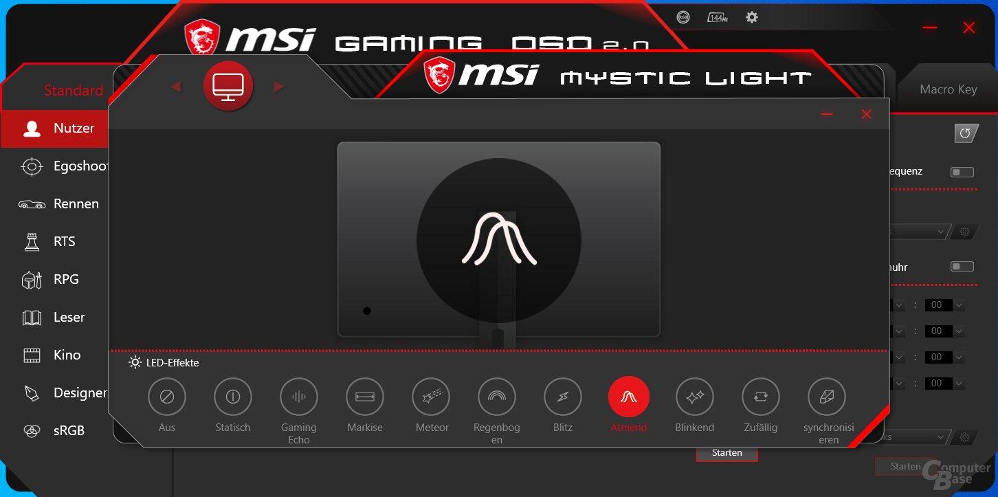 MSI Gaming OSD für Mystic-Light-Beleuchtung