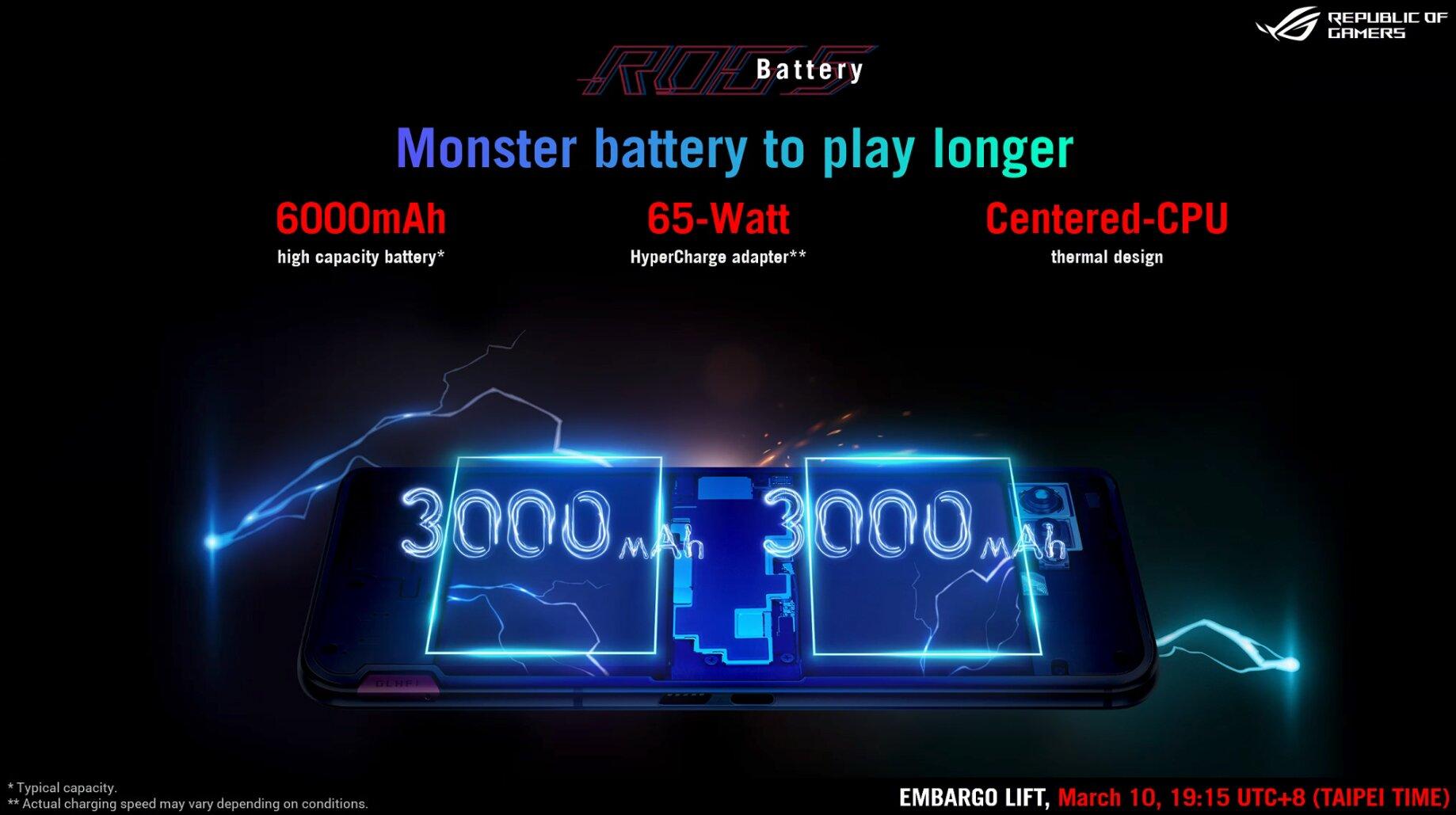 Asus ROG Phone 5: Der 6.000-mAh-Akku ist in zwei Zellen aufgeteilt
