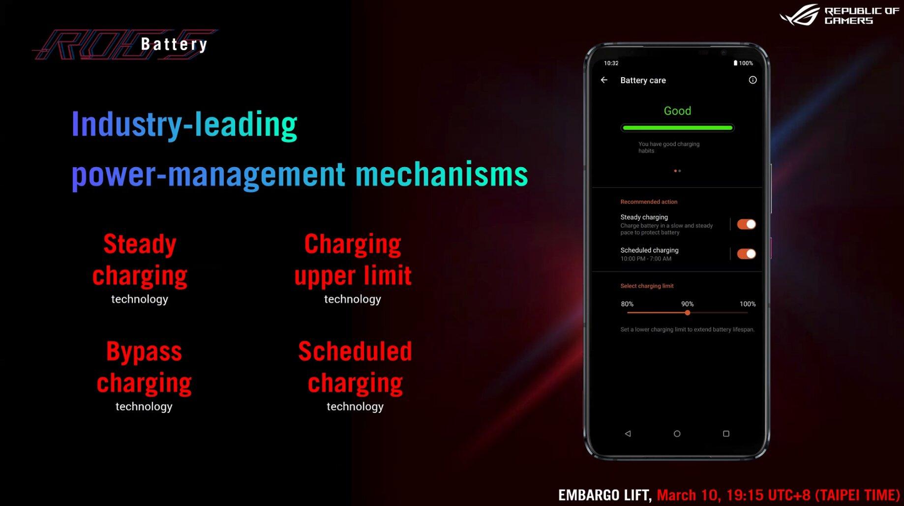 Asus ROG Phone 5: Beim Laden lässt sich viel einstellen