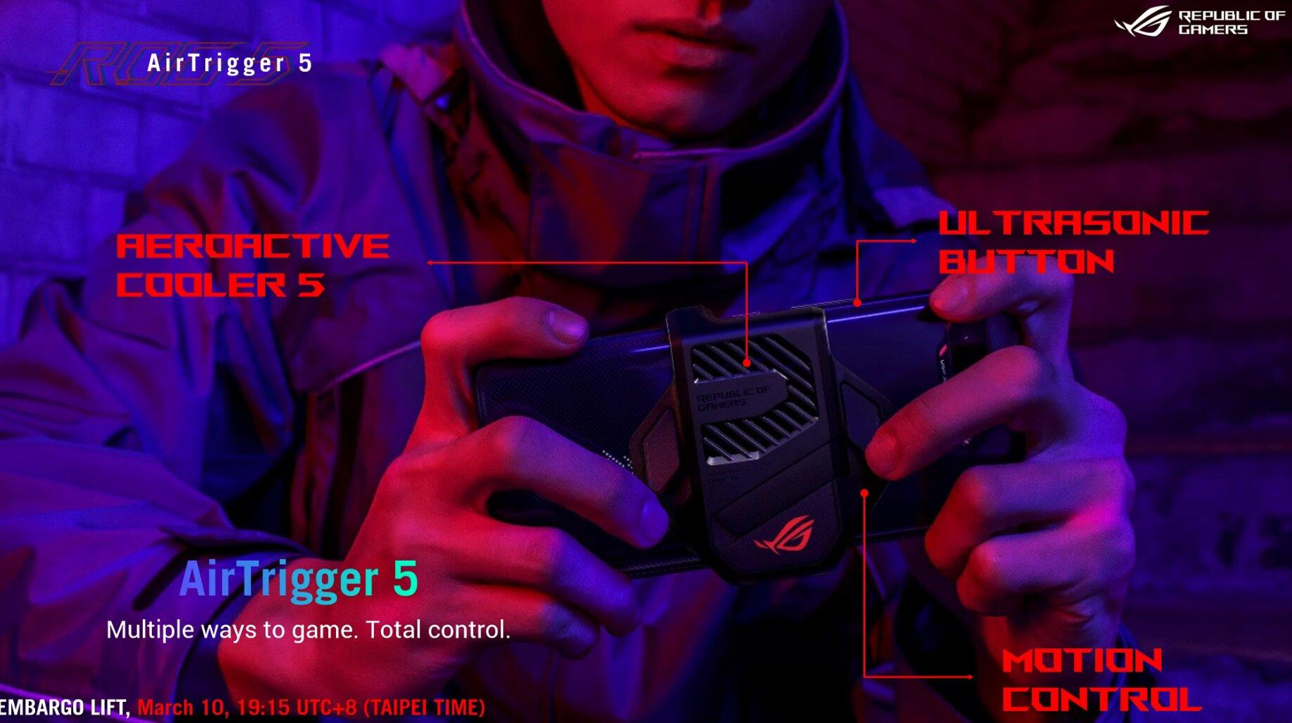Asus ROG Phone 5: AirTriggers und Tasten am Kühler