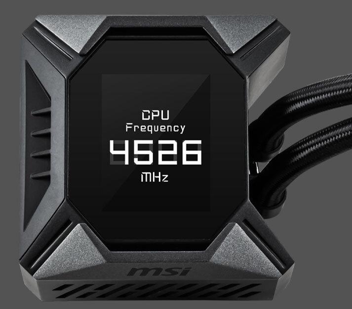 MSI MPG Coreliquid K360 – das Display kann Statusinformationen anzeigen