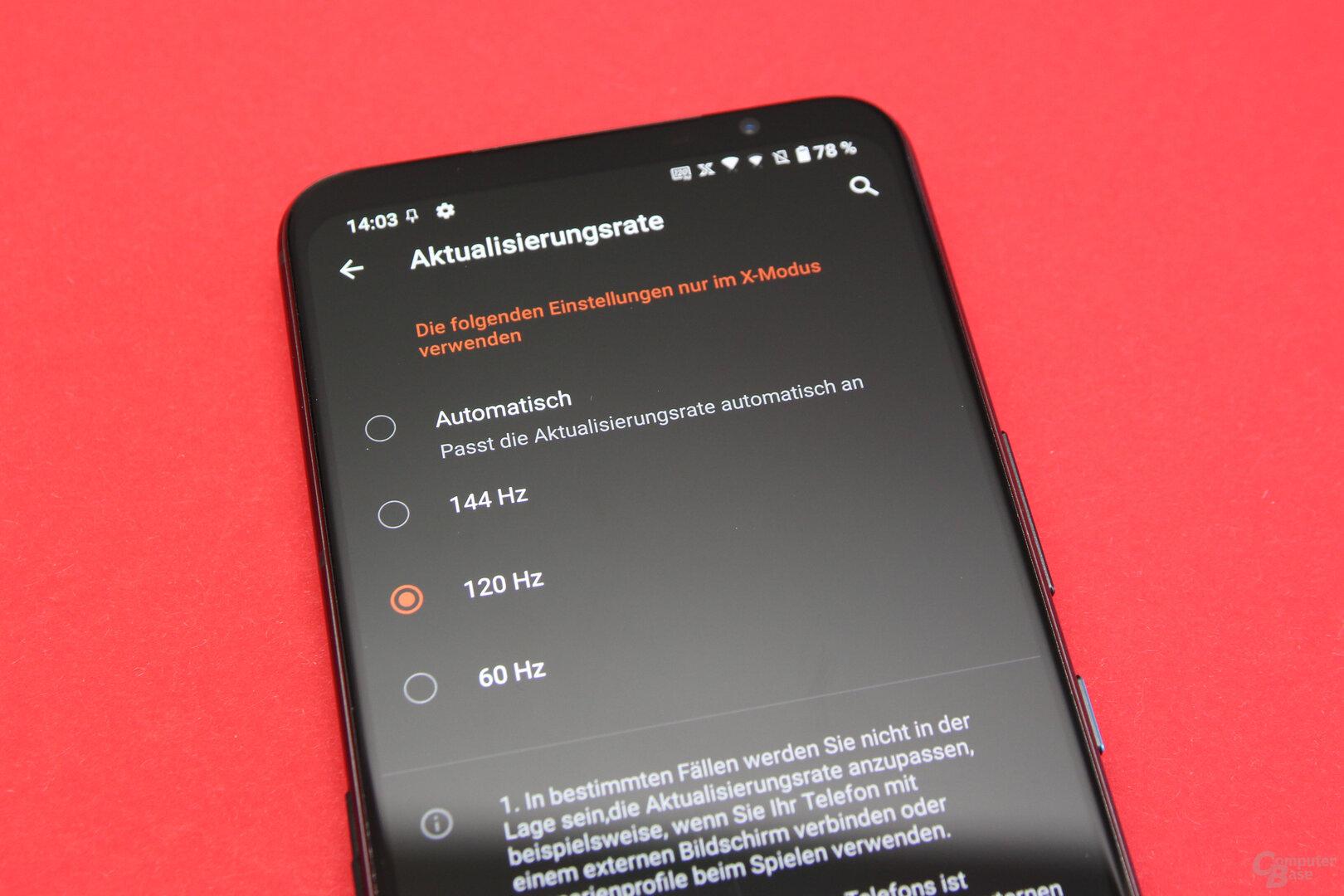 Asus ROG Phone 5: 60, 120 oder 144 Hz für das Display