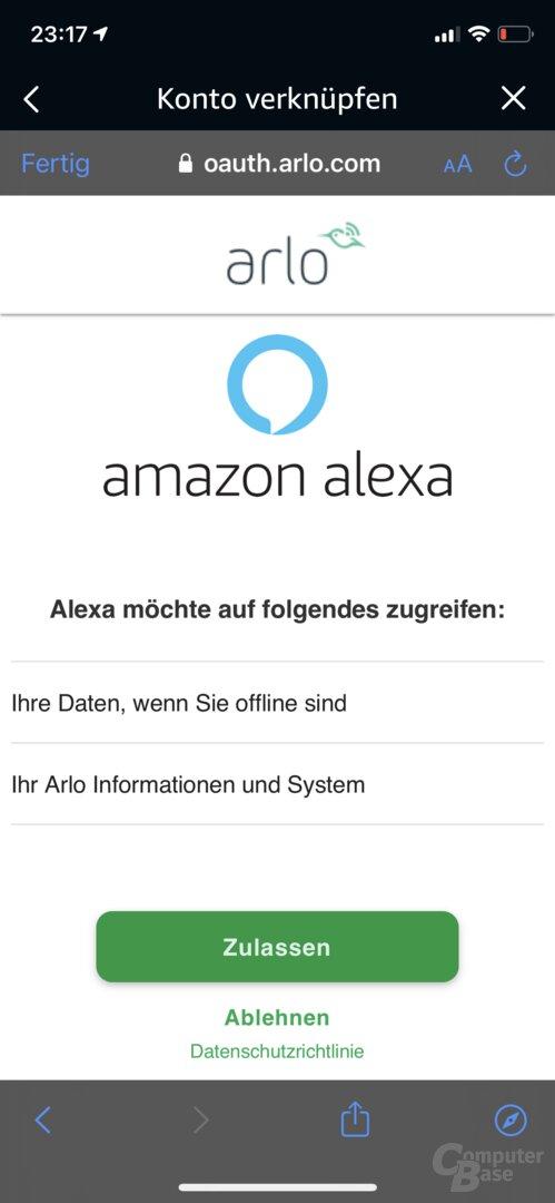 Arlo Video Doorbell in der Amazon-Alexa-App