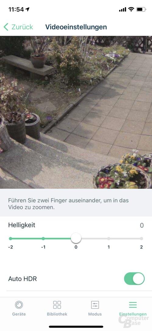 Festlegung des Bildausschnitts in der Arlo-App