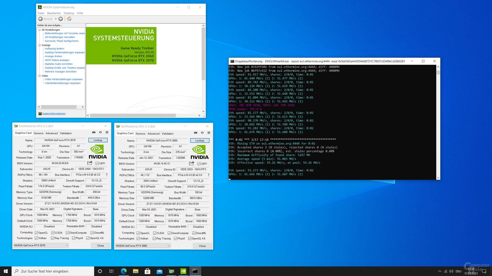 Schon dass ein Monitor passiv an der RTX 3060 hängt, hebelt die Bremse wieder aus: GPU2 (RTX 3070) gibt das Bild über HDMI aus, GPU1 (RTX 3060) hängt per DisplayPort am selben Display. Wird das Kabel entfernt, sinkt die Hashrate, ist das Kabel wieder dran, steigt sie erneut