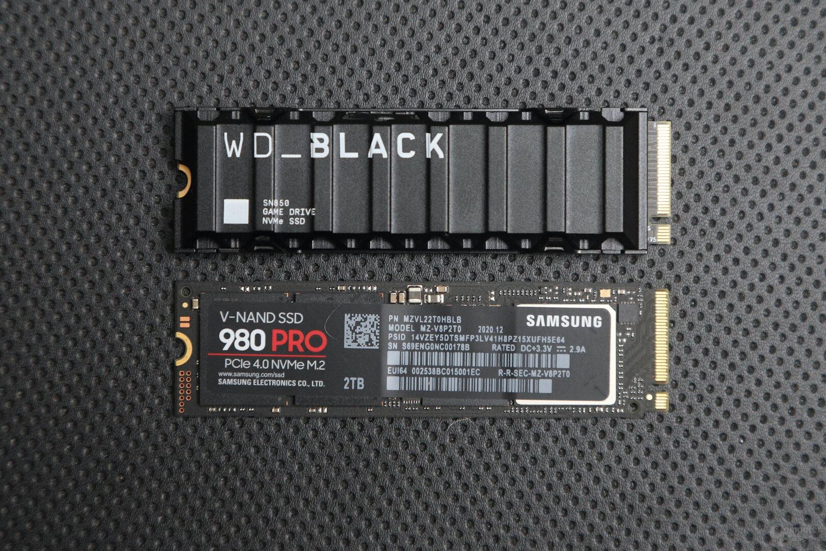 WD Black SN850 (oben), Samsung 980 Pro (unten)