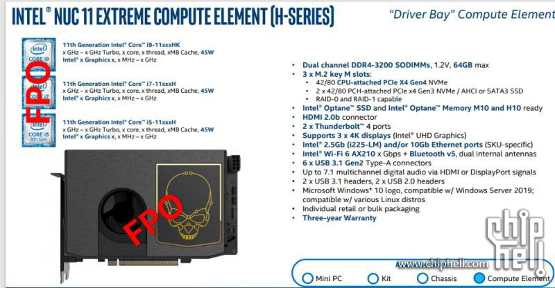 NUC11 Extreme Compute Element