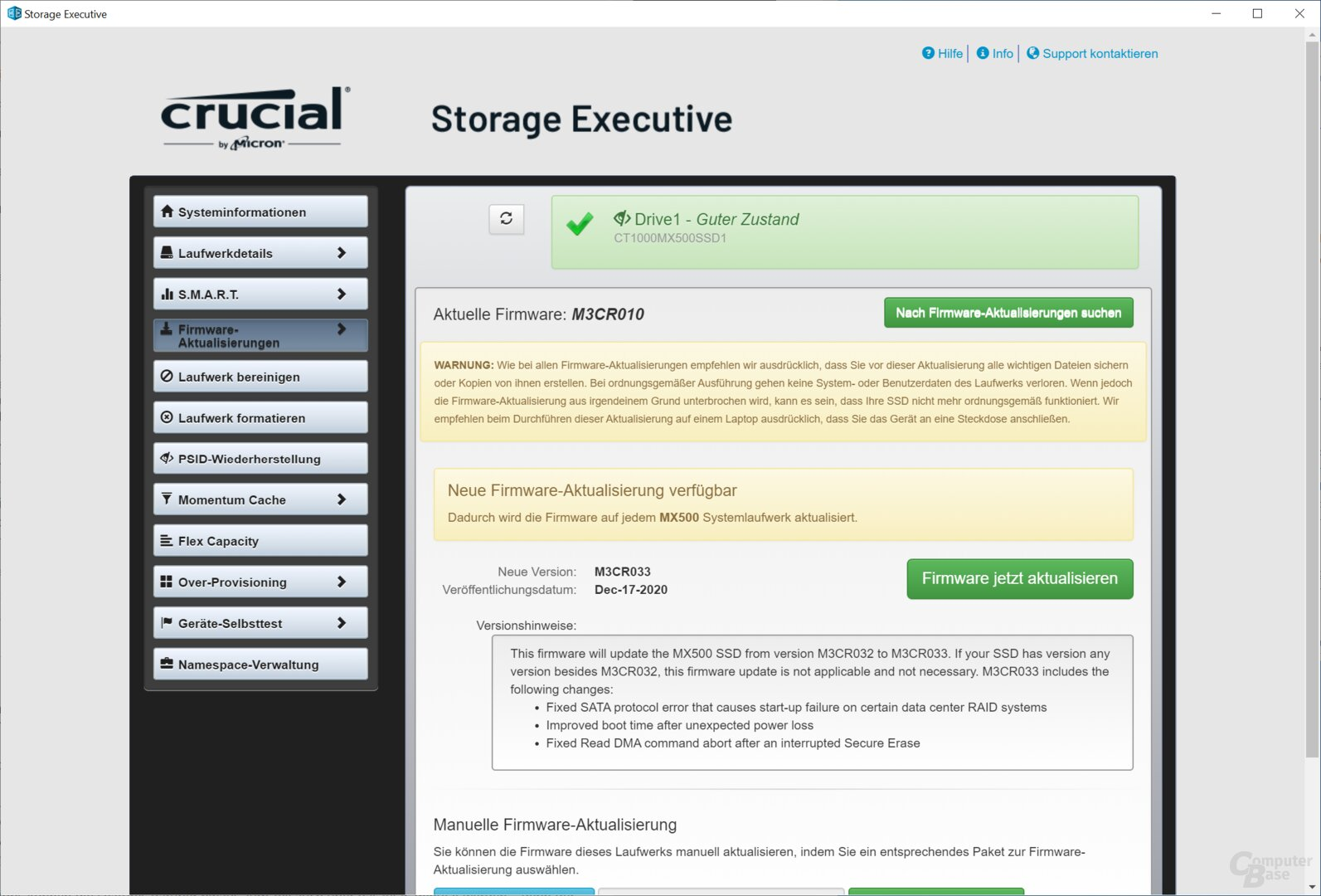 Crucial Storage Executive will die M3CR033 installieren
