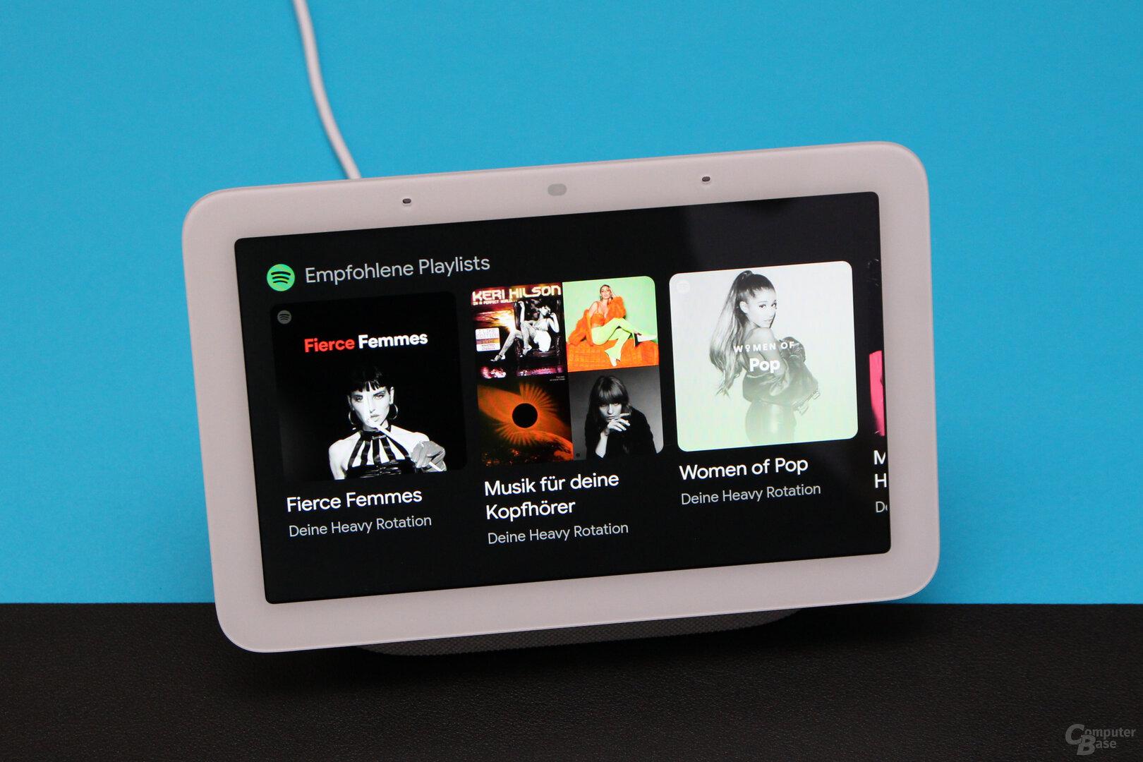 Google Nest Hub (2. Gen.): Empfehlungen, aber keine Menüs in Spotify