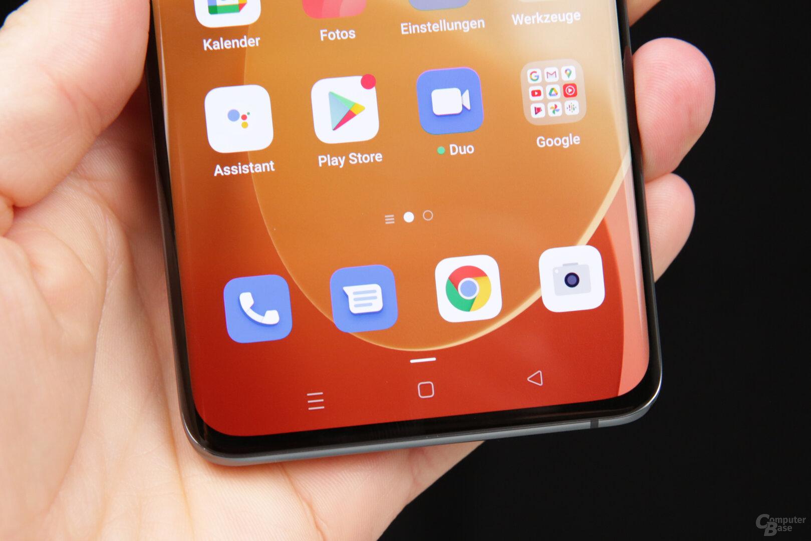 Ab Werk sind virtuelle Homescreen-Tasten eingestellt
