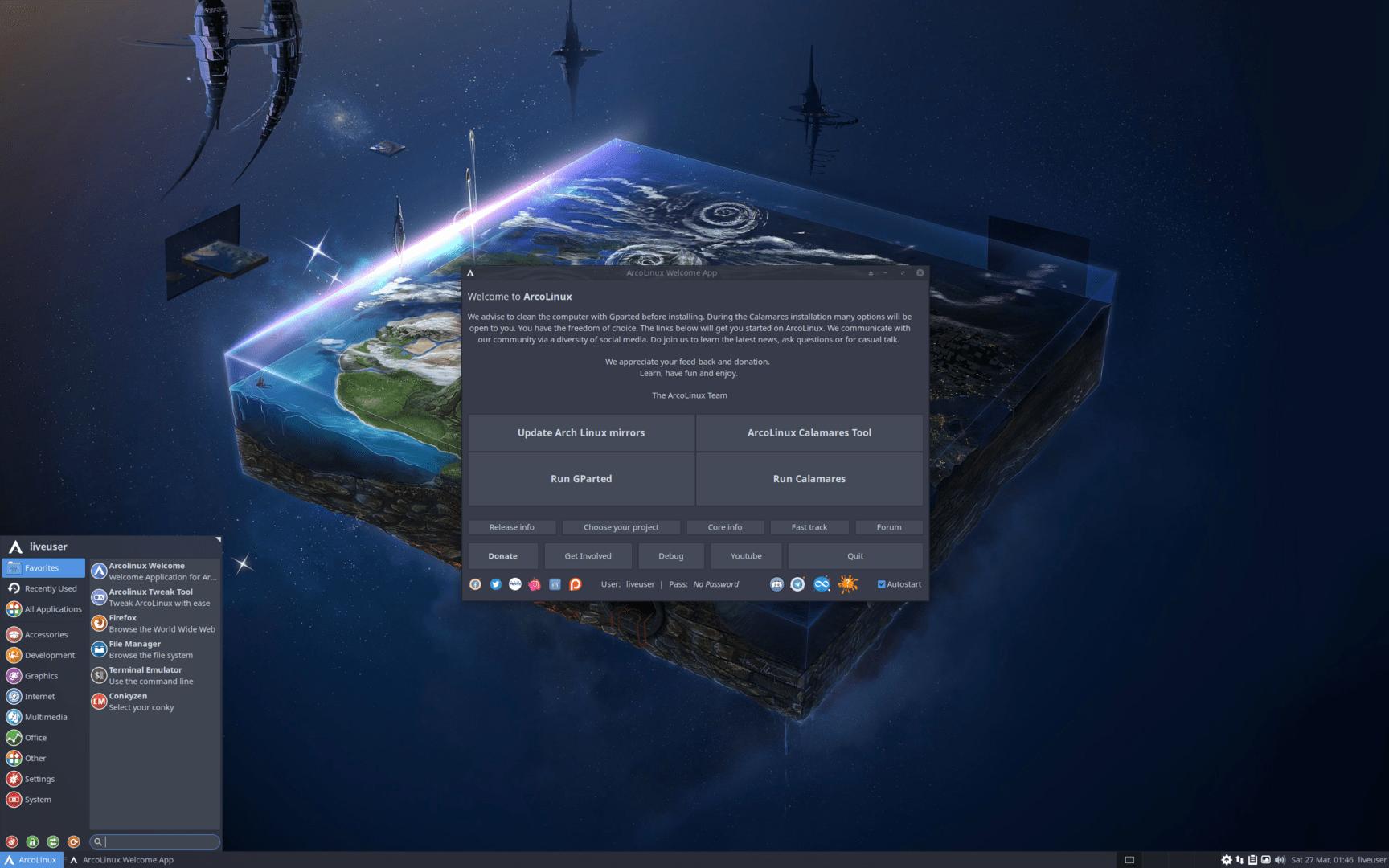 ArcoLinux v21.03 mit Xfce 4.16