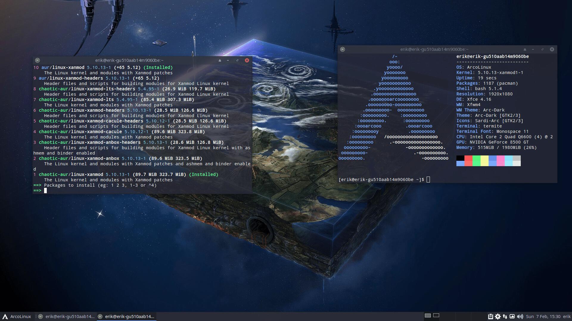 ArcoLinux mit Linux 5.10.3