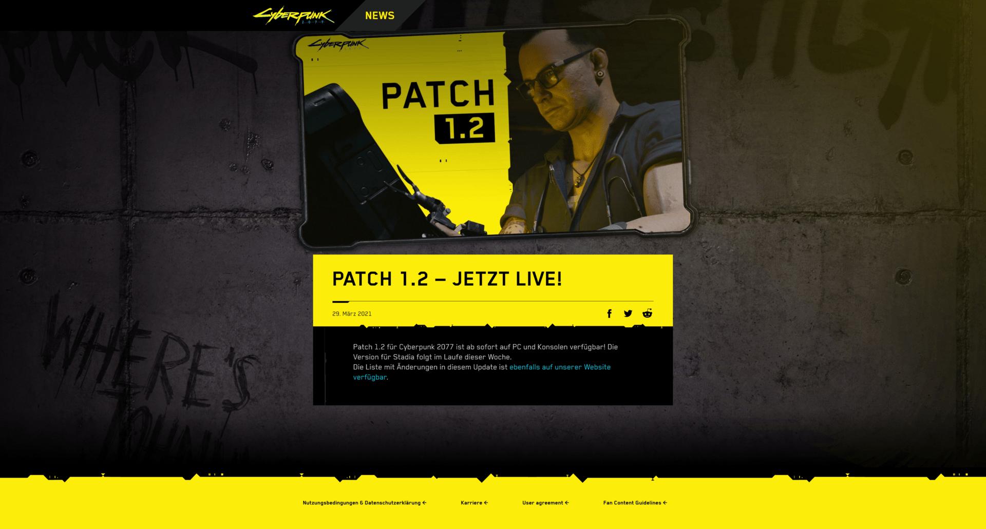 Der Patch 1.2 für Cyberpunk 2077 ist live
