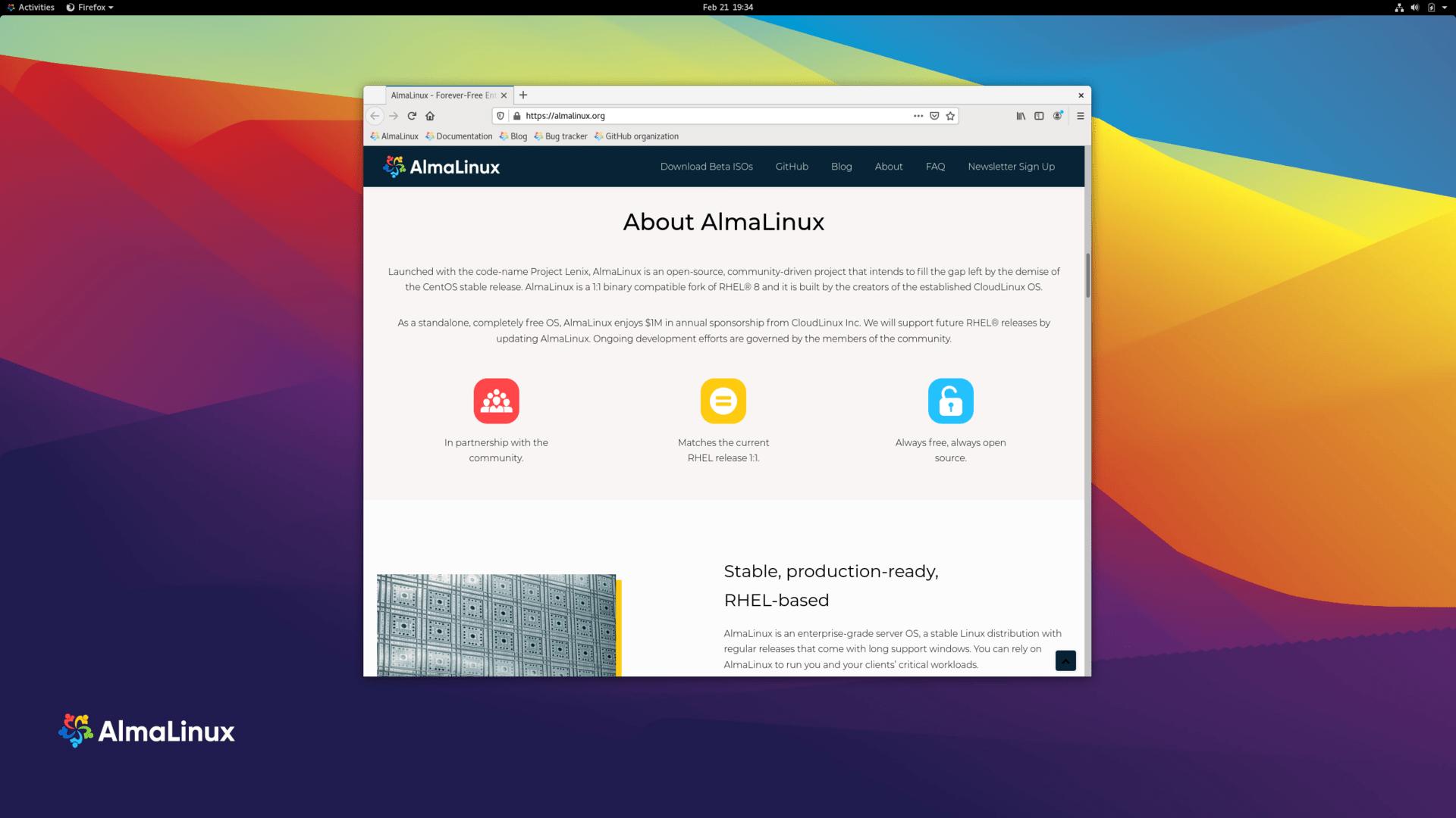 AlmaLinux 8.3 mit Gnome 3.32
