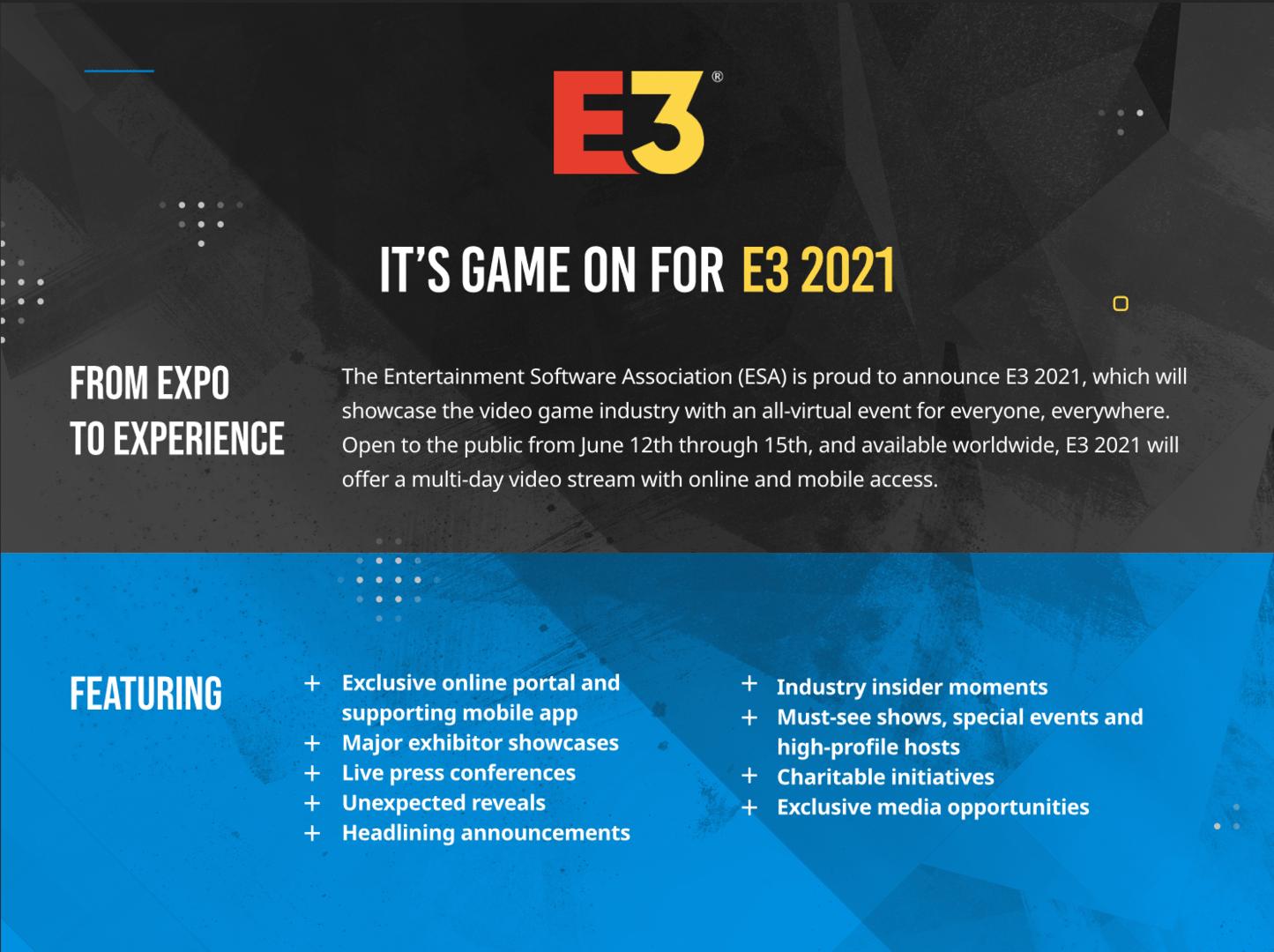 Die E3 2021 findet vom 12. bis 15. Juni als Online-Expo statt