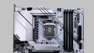 CVN Z590M Gaming Frozen V20: Seltenes µATX-Mainboard in weiß mit silber Kühlern