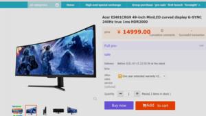 Acer EI491CRG9: Weiterer Mini-LED-Monitor mit 5.120 × 1.440 und HDR 2000