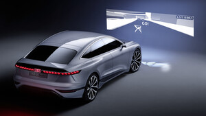 A6 e-tron concept: Audi projiziert Videospiele mit LED-Scheinwerfern