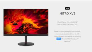 Acer Nitro XV252QF: 390-Hz-Monitor mit FreeSync statt 360 Hz mit G-Sync