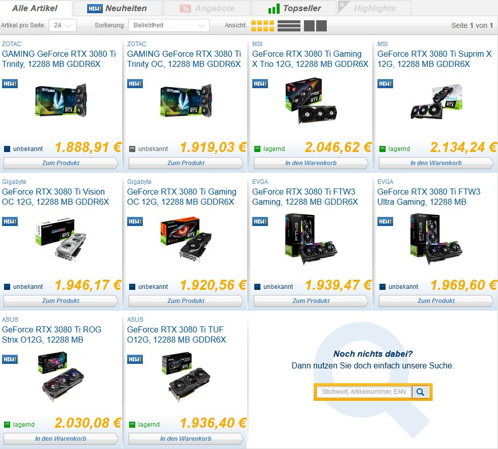 GeForce RTX 3080 Ti: Das Preisniveau bei Caseking