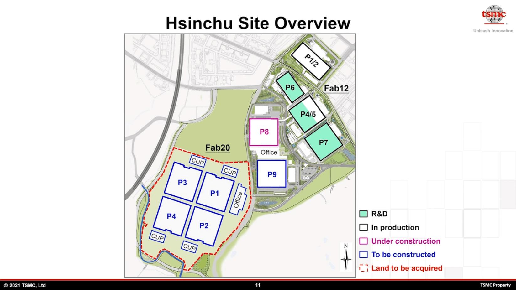 TSMC in Hsinchu mit Fab12 und zukünftiger Fab20