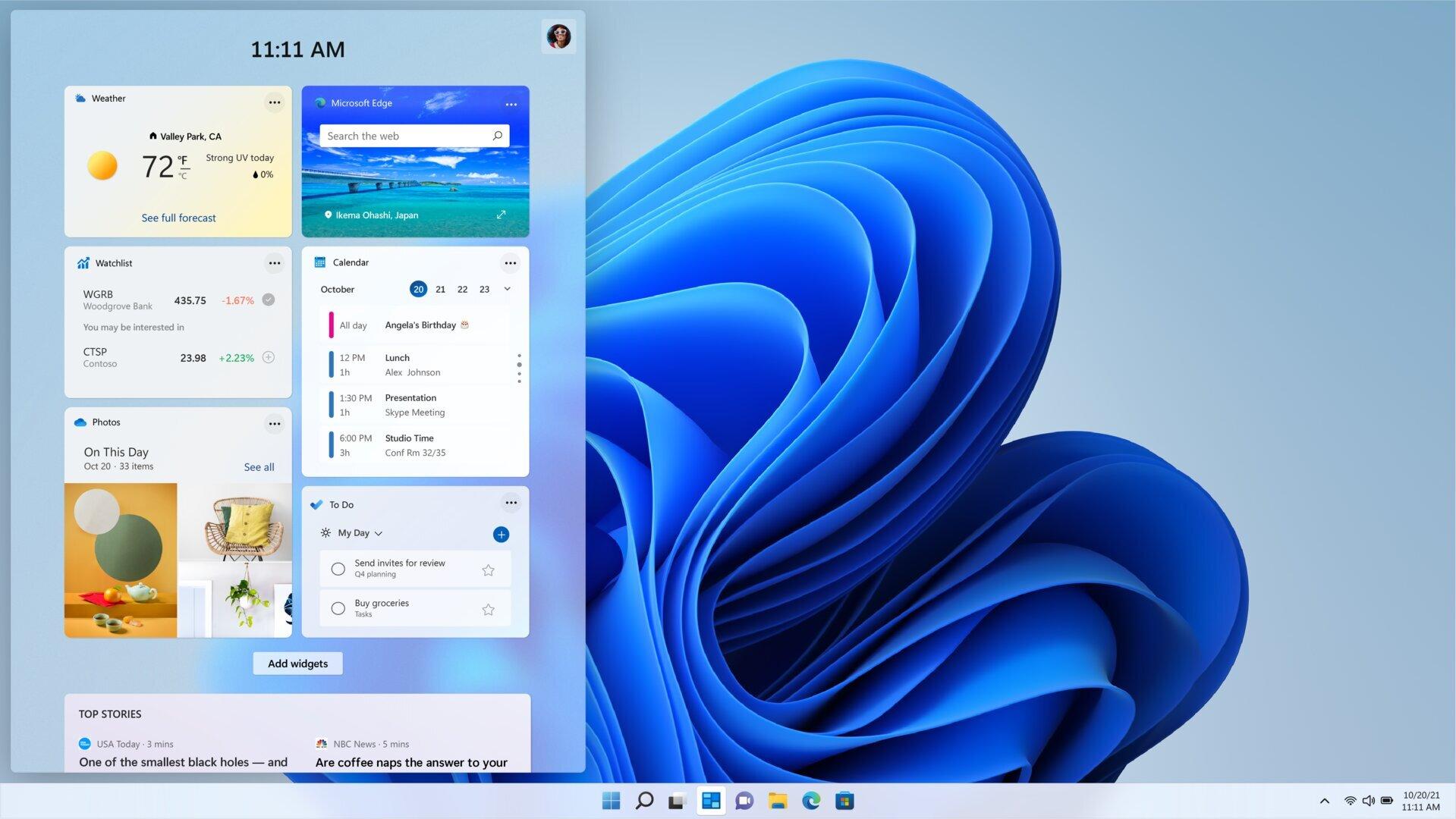 Windows 11 – Widget-Overlay