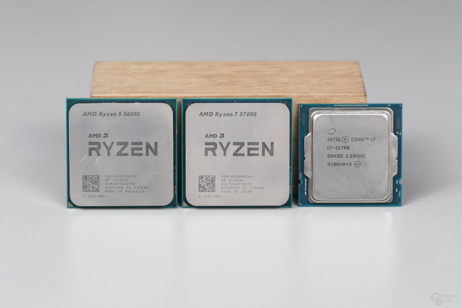 AMD Ryzen 5 5600G, Ryzen 7 5700G und Intel Core i7-11700 als Gegenspieler