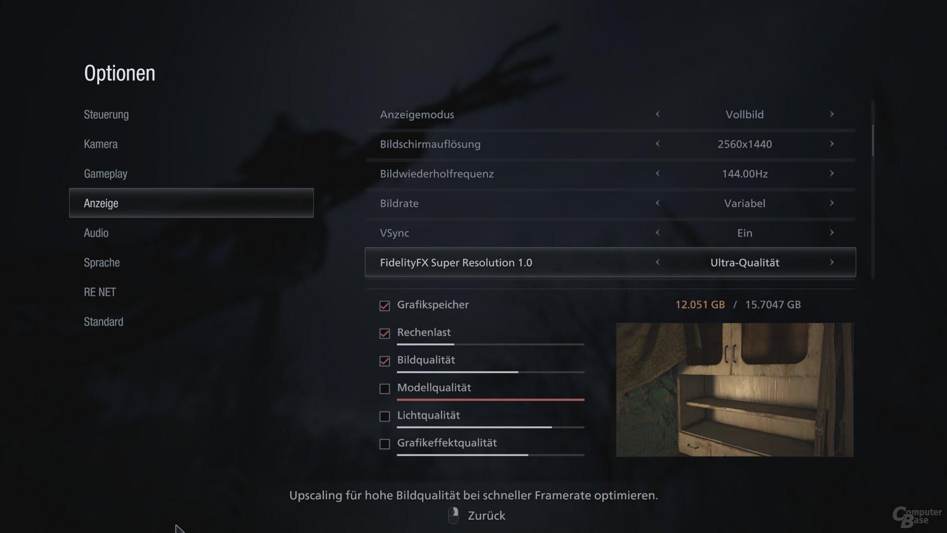 AMD FSR 1.0 im Grafikmenü von Resident Evil Village