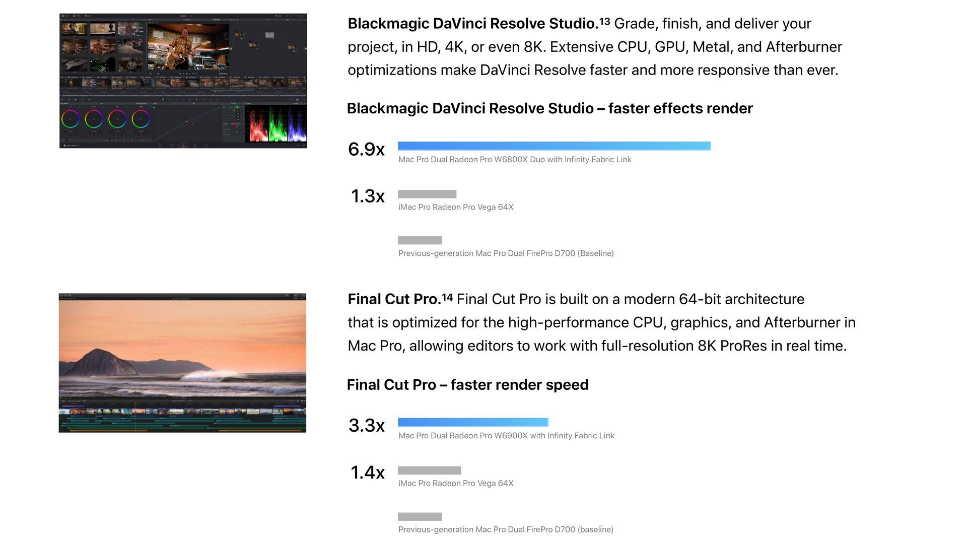 Wydajność grafiki w Blackmagic DaVinci Resolve Studio i Final Cut Pro