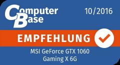 ComputerBase-Empfehlung für MSI GeForce GTX 1060 Gaming X 6G